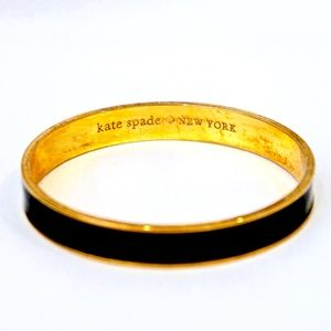 KATE SPADE~black enamel~GOLD BANGLE BRACELET
